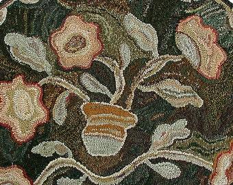 Oval Antique floral rug hooking PATTERN ONLY on primitive linen//Karen Kahle hooked rug design