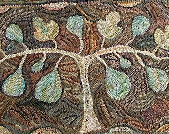 Fig Tree rug hooking PATTERN ONLY on linen//nature design