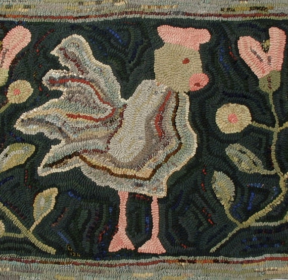 Chicken In The Garden Rug Hooking Pattern On Bleached