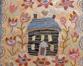 Crooked House rug hooking PATTERN ONLY on linen//floral garden log cabin design