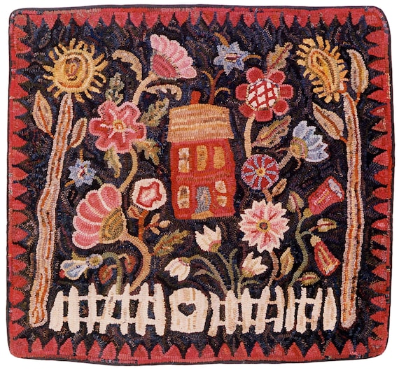 A Towne Garden in 2 sizes rug hooking pattern printed on bleached primitive linenhouse and floral design