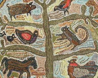Animal design//Simple Gifts rug hooking PATTERN ONLY//primitive tree//Magdelena Briner inspired//cat chicken horse pig duck bird