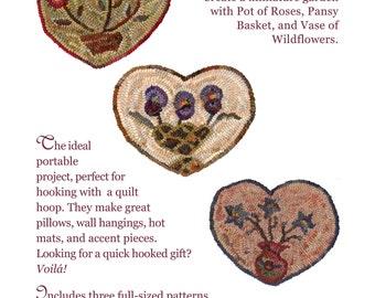 Flower Hearts paper pattern set for rug hooking