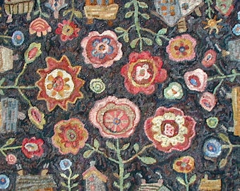 Flowerbox in 2 sizes rug hooking PATTERN ONLY on linen//houses and flowers//floral landscape design by Karen Kahle