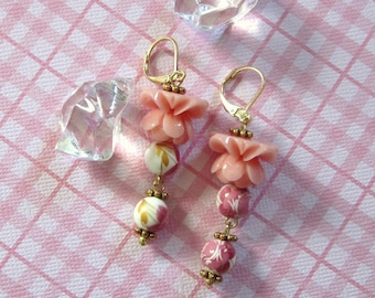 Gold plated pink lotus floral ceramic shabby chic leverback dangle earrings