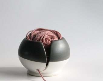 Hand Thrown Black and White Yarn Bowl
