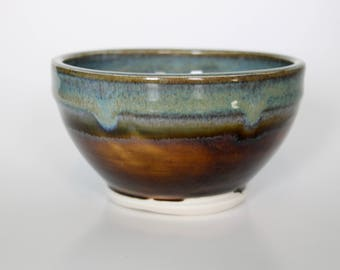 Handtrhown Floating Blue and Amber Porcelain Bowl
