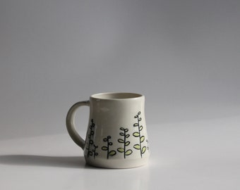 Hand Thrown Green Leaves Porcelain Mug