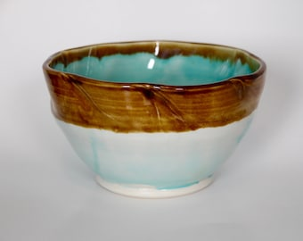 Handthrown Ceramic Sea Glass Blue and Dark Amber Serving Bowl