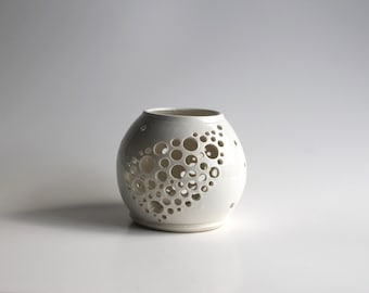 Handthrown Ceramic White Candle Holder