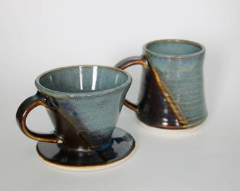 Handthrown Cermaic Coffee Pour Over and Mug Set in Floating Blue and Amber