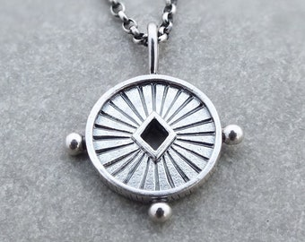 Aurora necklace sterling silver - celestial necklace - medallion necklace -  sun goddess necklace - coin necklace  - layering necklace