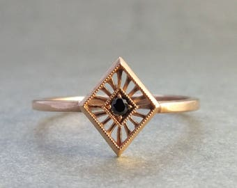 Art Deco solitaire black diamond ring in 18k gold - solitaire ring - unique engagement ring - alternative engagement ring - black diamond