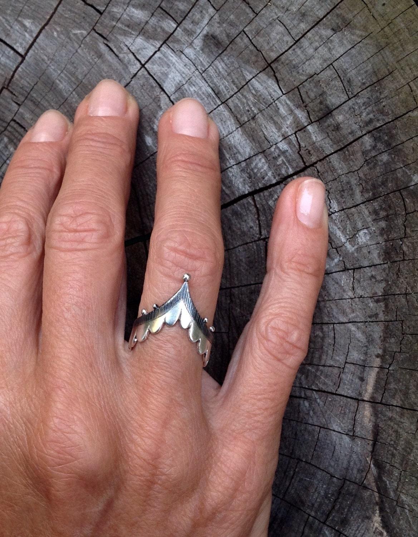 Valeria ring scalloped v ring tribal chevron ring | Etsy
