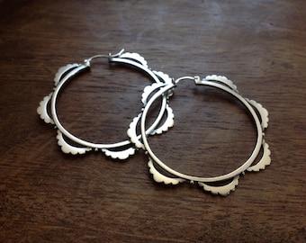 Frondescence hoops - large tribal earrings - boho earrings - big hoops - scalloped earrings - gypsy earrings - statement earrings