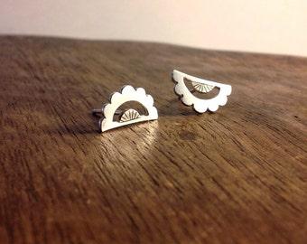Scalloped lace studs - tiny geometric stud earrings // tiny stud earrings // dainty earrings // half round studs