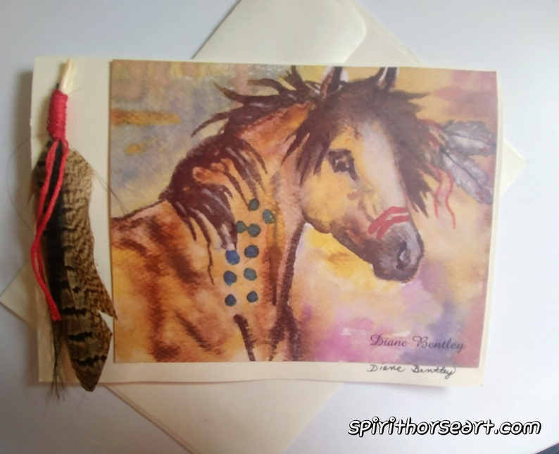 War Horse Card Feather Horsehair image 0