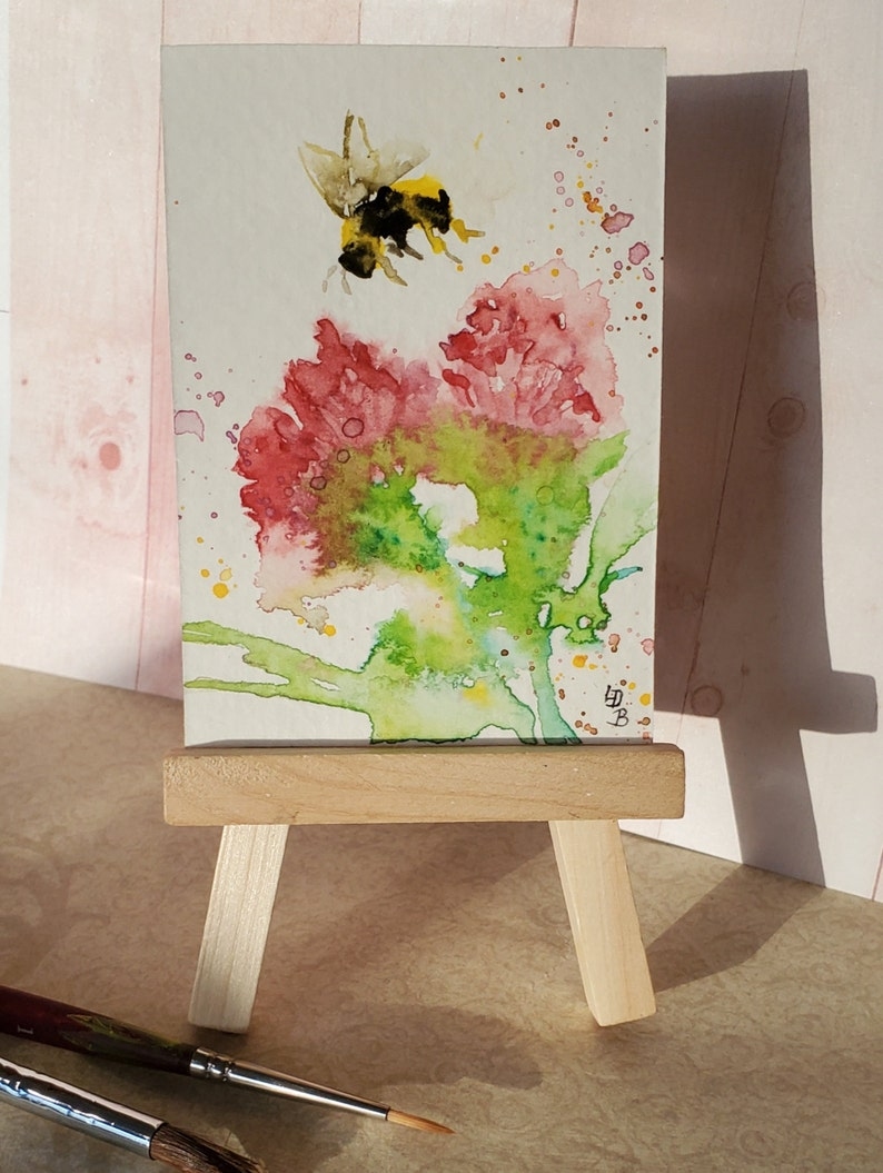 Miniature painting Bumble Bee original Watercolor ACEO,ATC Small format art Flowers