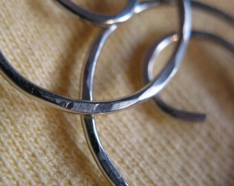 Free Shipping Item . NOTSO THINNI 45mm Medium Hoop Earrings with hammered surface in 20 gauge square German Nickel Silver wire
