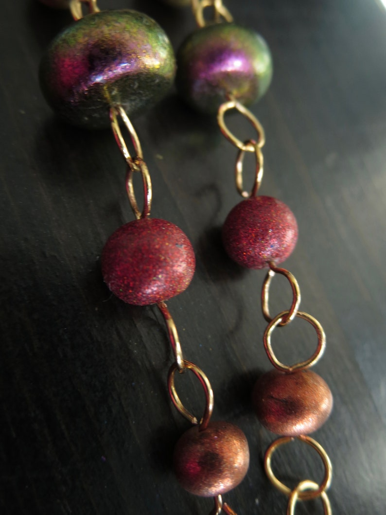 With Rose Gold coloured Handmade Polymer Clay  Beads. Metallic Golds Long Earrings KOZY 2 Bronzes Coppers