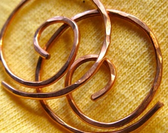 Free Shipping Item. Small  Hoop Earrings. MINI.Spiral Swirl Hoops. Hammered surface. 18 gauge copper wire