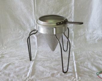 Vintage Aluminum Cone Shaped Sieve Food Strainer Stand Canning Apple Sauce Colander Fruit Press Rusty Primitive
