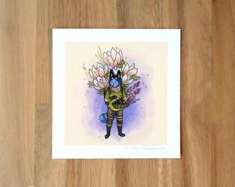 Cat Flower Guardian - Mini Fine Art Print