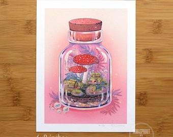 Mushroom Terrarium - Fine Art Print by Nicole Gustafsson