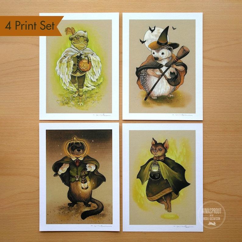 4 PIECE PRINT SET By Nicole Gustafsson Autumn Animals