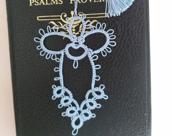 SKY Blue Angel Tatted Lace Bookmark with Tassel Handmade Tatting
