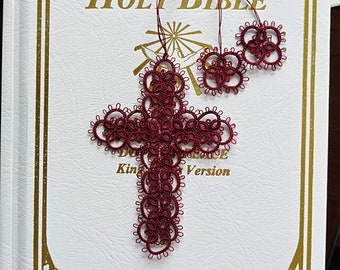 Victorian Red w/flower tassel style 1 Cross Bookmark Tatted Lace Bible Faith Journal Keepsake Gift Heirloom