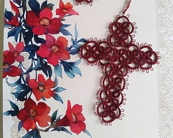 Victorian Red w/flower tassel style 2 Cross Bookmark Tatted Lace Bible Faith Journal Keepsake Gift Heirloom