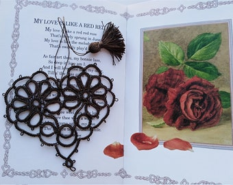 Chocolate Brown Heart Tatted Daisy Flower Bookmark with Tassel Tatting