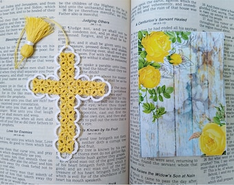 Sunny Yellow Tatted Cross Bible Bookmark Heirloom Tatting Lace Garden Faith Journal