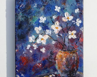 Flower vase painting, Textured flowers painting 8x10