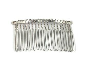 20Pcs White K Plated Metal Hair Combs 7 teeth Hair combs Blank combs head teeth comb,Comb Findings.