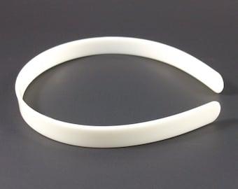 25 White (Off-White) Plastic Headband Blanks - 14mm (1/2 inch)