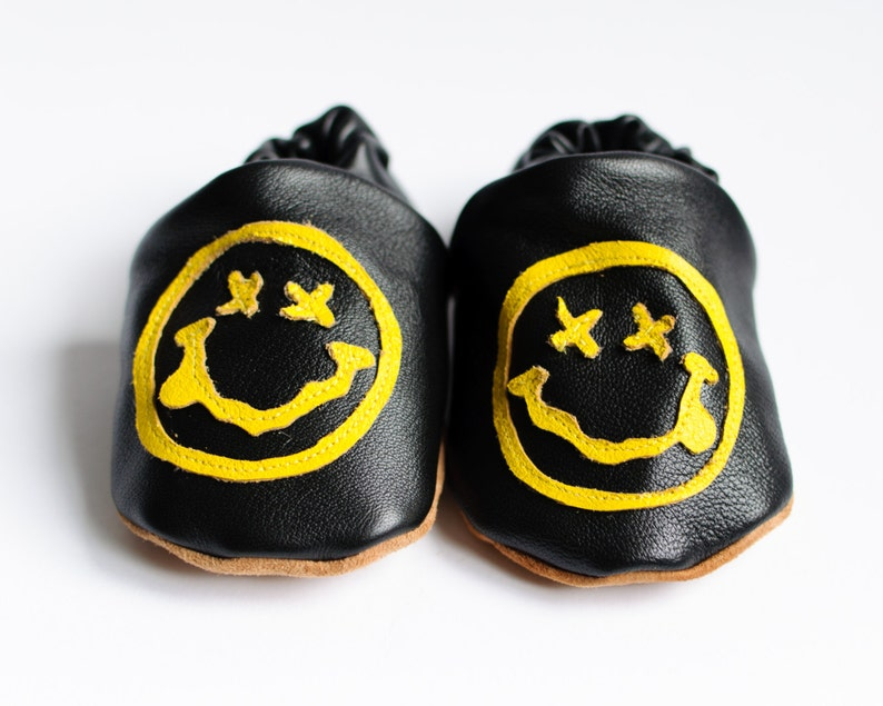 Nirvana. Have a nice day. 'Rock n Sole' Baby Slippers. image 0