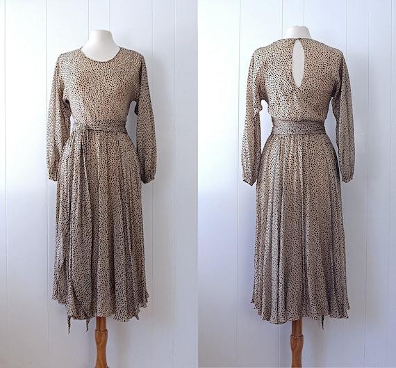 1970s HALSTON Silk Chiffon Pebble Print Dress