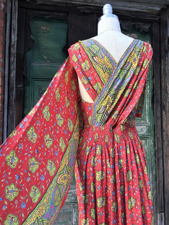 1930s Red Cold Rayon Sari Dress