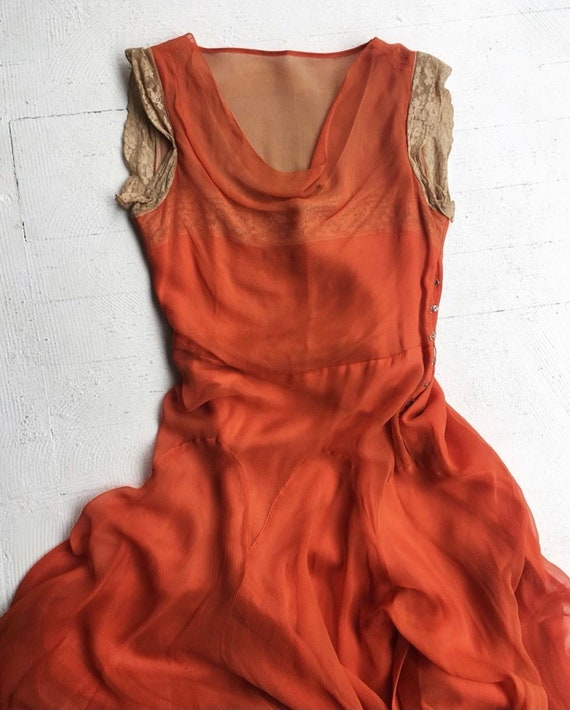 1930s Fire Orange chiffon Dress and Bolero