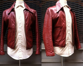 1960s Red Brown Leather Racer Jacket Size 40