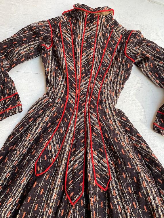 Antique Wool Asymmetrical button Dress