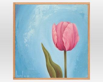 Pink Diamond Tulip - Original Oil Painting on Wood 8x8