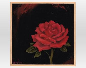 Superstar Rose - Original Oil Painting on Wood 8x8