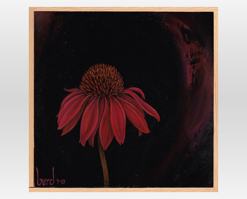 Twilight Echinacea  Original Oil Painting on Wood 8x8 image 0