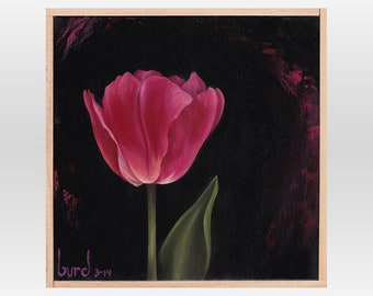 Pink Emperor Tulip - Original Oil Painting on Wood 8x8