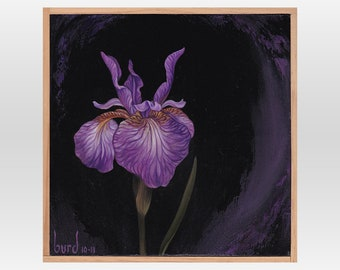 Eric the Red Iris - Original Oil Painting on Wood 8x8