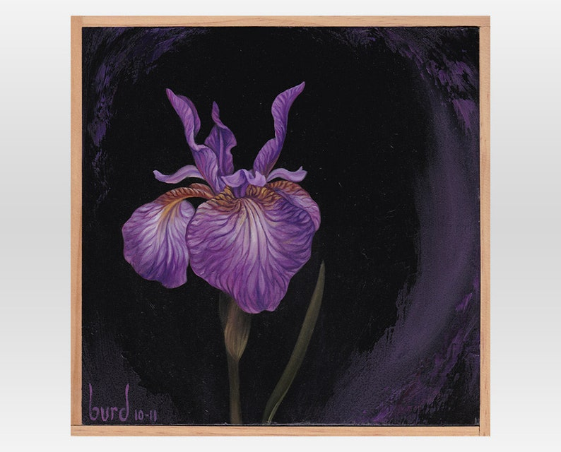 Eric the Red Iris  Original Oil Painting on Wood 8x8 image 0