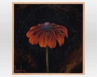 Rustic Colors Rudbeckia - Original Oil Painting on Wood 8x8